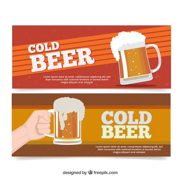 beer banners in flat design vector free download