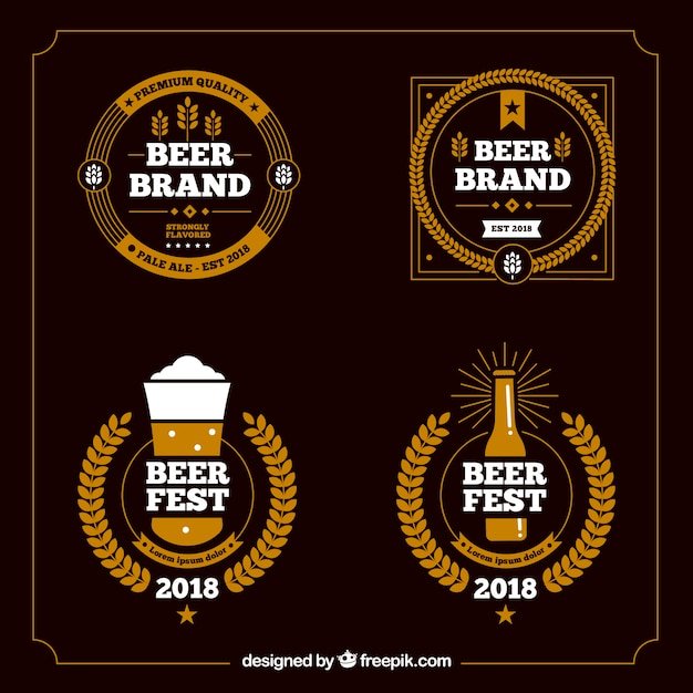 Beer bar logo template collection Free Vector