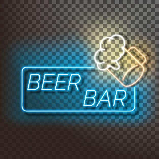 Beer bar neon light banner on blue Premium Vector