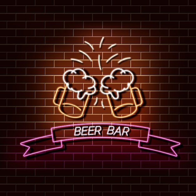 Beer bar neon light banner on a brick wall. orange and pink sign. decorative realistic retro element for web design vector illustration. Premium Vector
