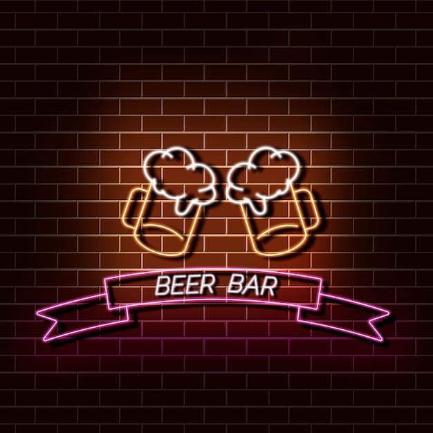 Beer bar neon light banner on brick wall. orange and pink sign. Premium Vector