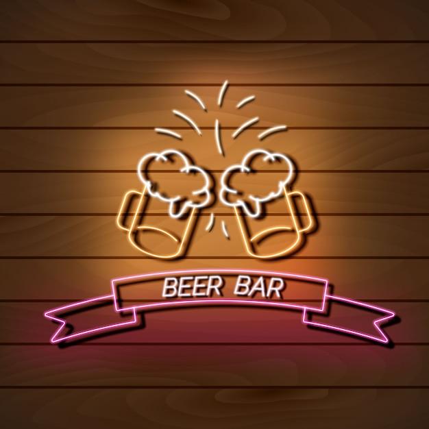 Beer bar neon light banner on a wooden wall. Premium Vector