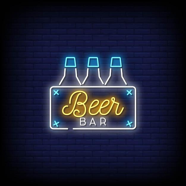 Beer bar neon signs style text vector Premium Vector