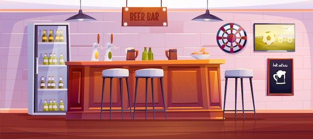 Beer bar or pub, empty interior with wooden desk Free Vector