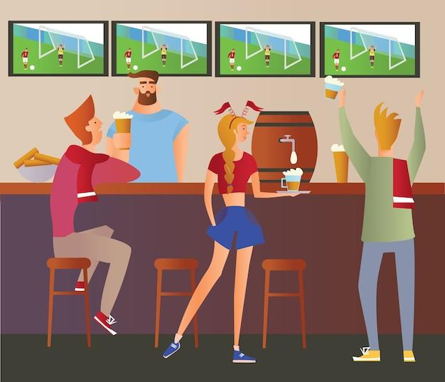 ビールバー-レストラン。バーでチームを応援するサッカーファン。サッカーの試合、バーテンダーのいるバー、アルコール飲料、テレビ。平らな 。 Premiumベクター