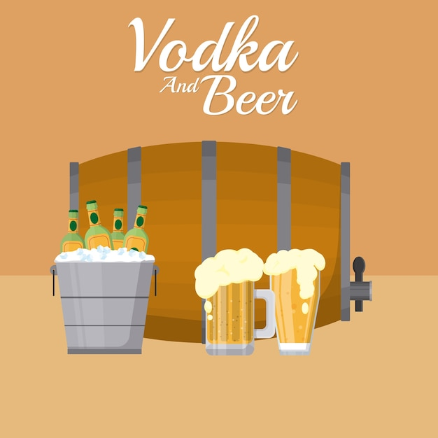 Beer barrel with cups and ice bucket Premium Vector