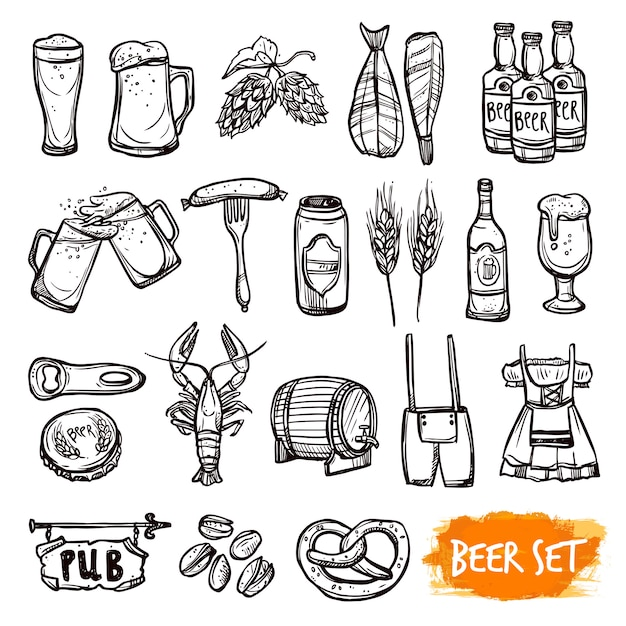 Beer black doodle icons set Free Vector