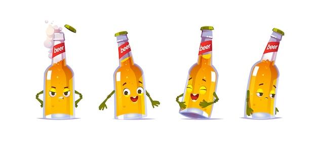 ビール瓶のキャラクター、黄色い液体アルコール飲料とかわいい顔のカワイ面白いガラスフラスコは幸せと悲しい感情を表現します 無料ベクター