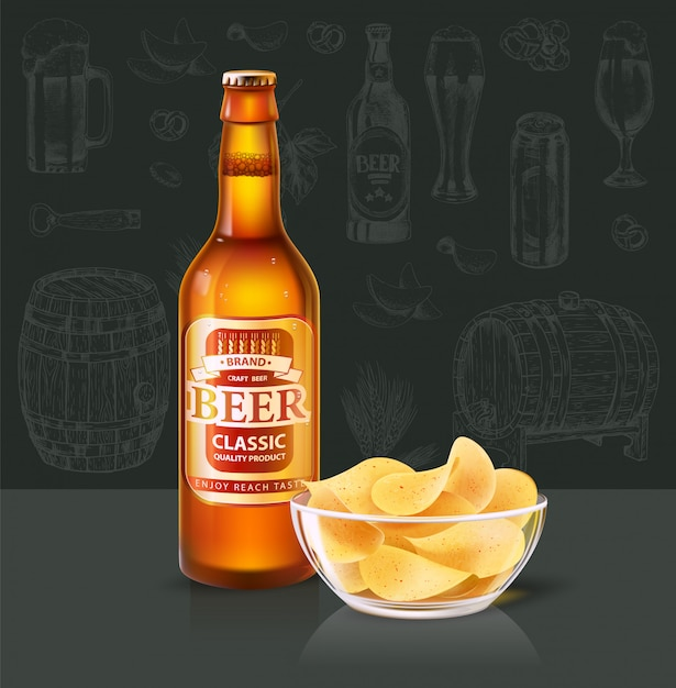 Beer in bottle and chips in glass bowl on table Premium Vector