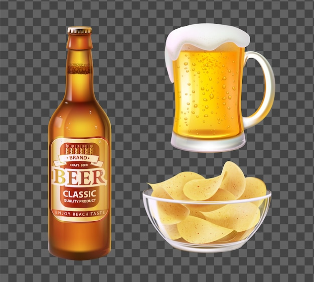 Beer in bottle or mug and chips in glass bowl Premium Vector