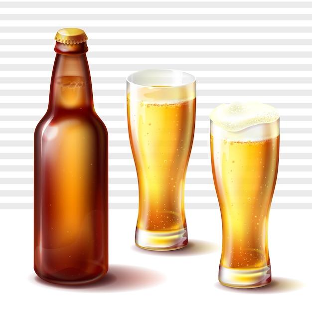 Beer bottle and weizen glasses with beer vector Free Vector