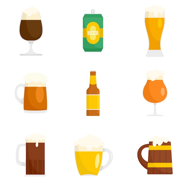 Beer bottles glass icons set Premium Vector
