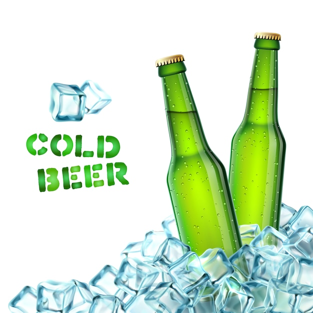 Beer bottles and ice Free Vector