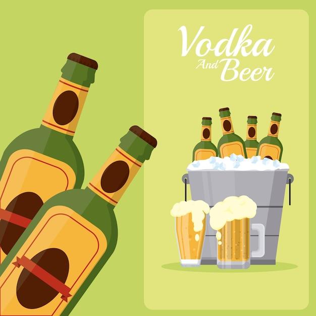 Beer bottles inside ice bucket Premium Vector