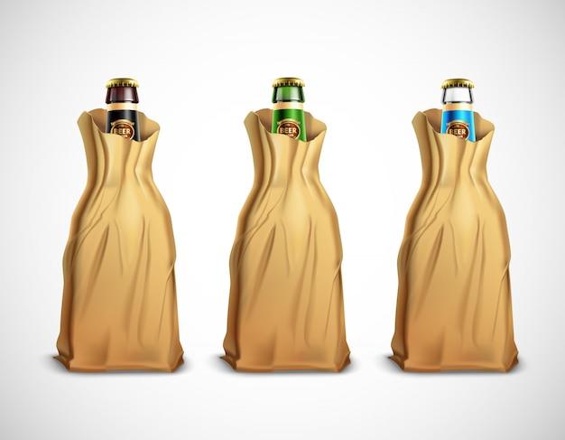 Beer bottles in paper bags Free Vector