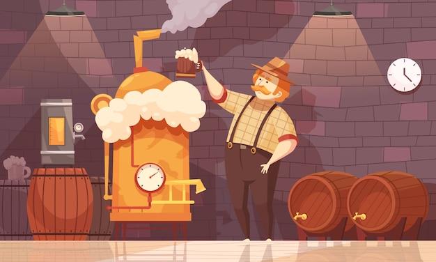 Beer brewer illustration Free Vector
