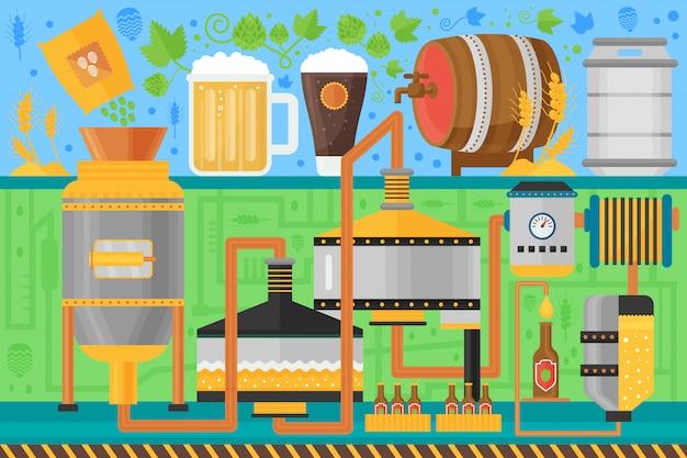 Процесс производства пива Premium векторы