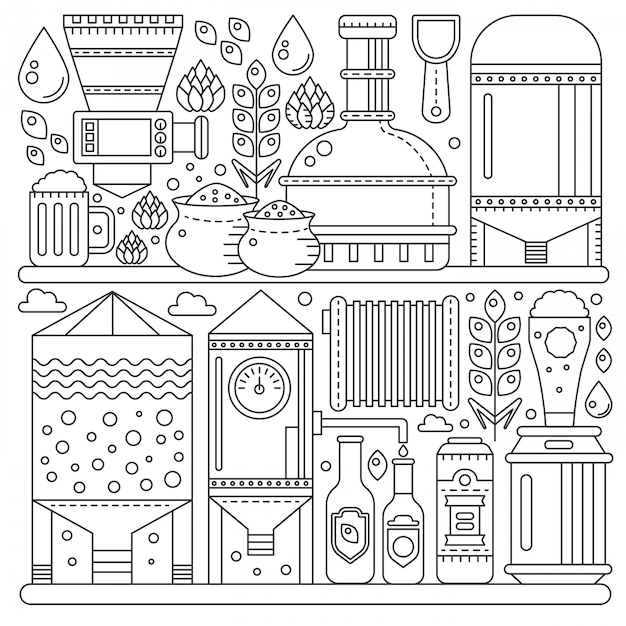 Beer brewery production process Premium Vector