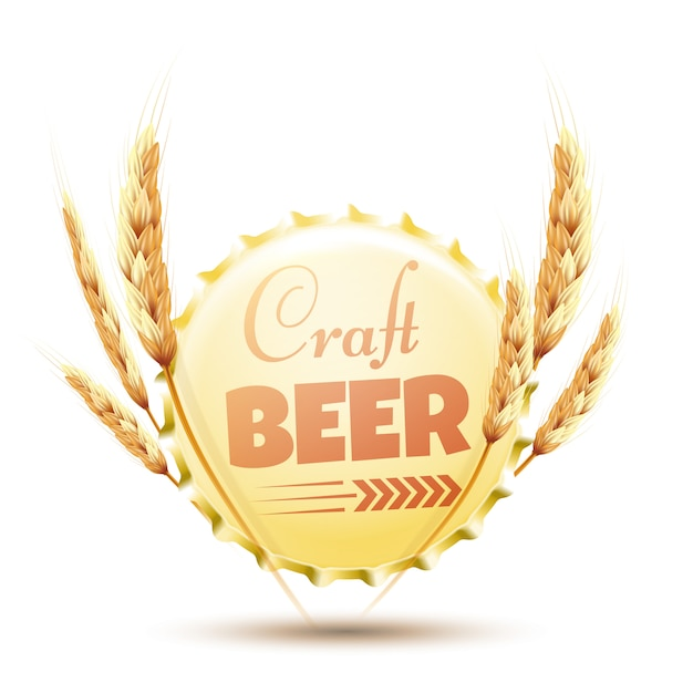 Beer cap with ears of wheat isolated on white. Premium Vector