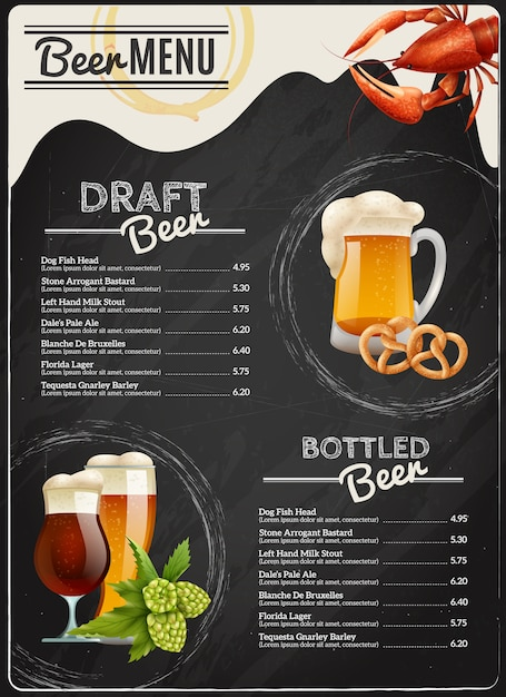 Beer chalkboard menu Free Vector