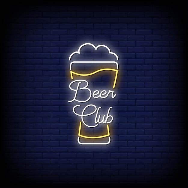 Beer club neon signs style text vector Premium Vector