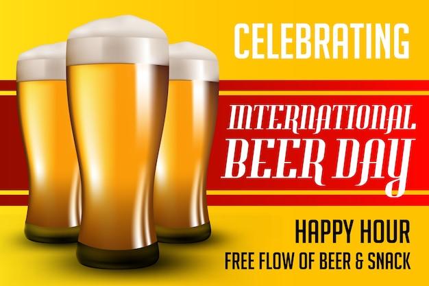 Плакат ко дню пива Premium векторы