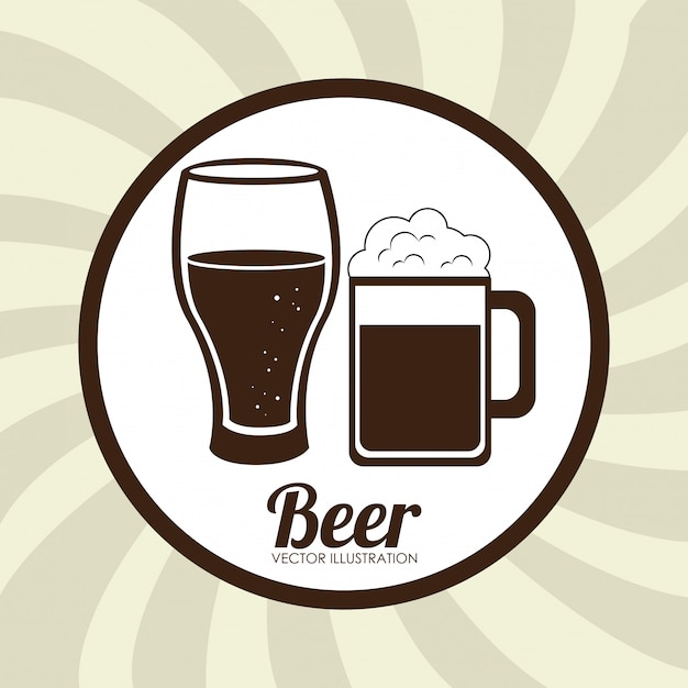 Beer design beige illustration Free Vector
