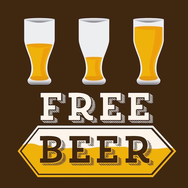 Beer design over brown, free beer Free Vector