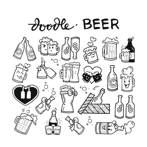 Beer doodle hand drawn Premium Vector