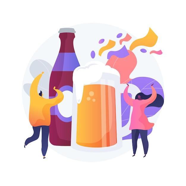 ビール祭りの抽象的な概念図。ストリート醸造、ビールと音楽祭、アウトドアの楽しみ、クラフトドリンク、ストリートパーティー、社交イベント、エンターテイメントをお楽しみください 無料ベクター