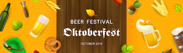 Beer festival banner with beer production elements Free Vector