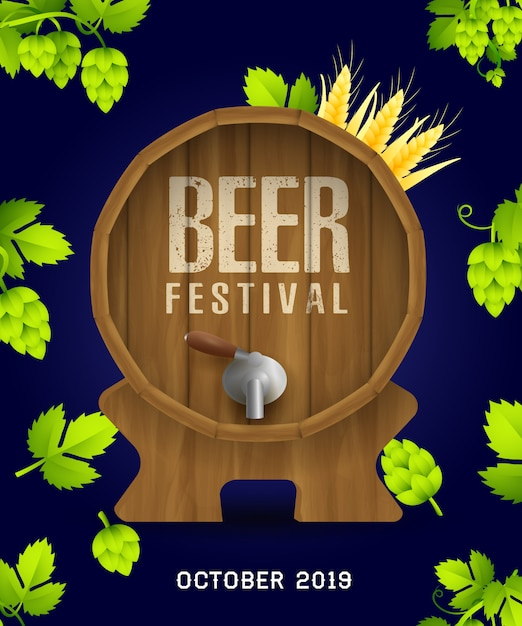 Beer festival banner with realistic hops and leaves Free Vector