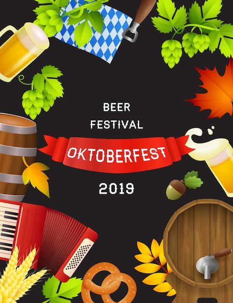 Beer festival oktoberfest poster with fest symbols Free Vector