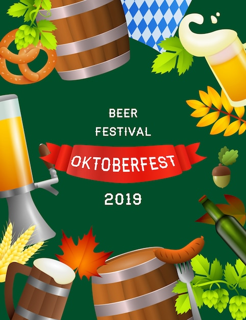 Beer festival oktoberfest poster with fest symbols Free Vector