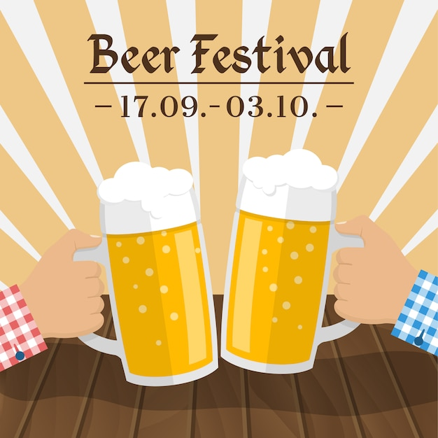 Пивной фестиваль. два стакана в руках мужчин, тост Premium векторы
