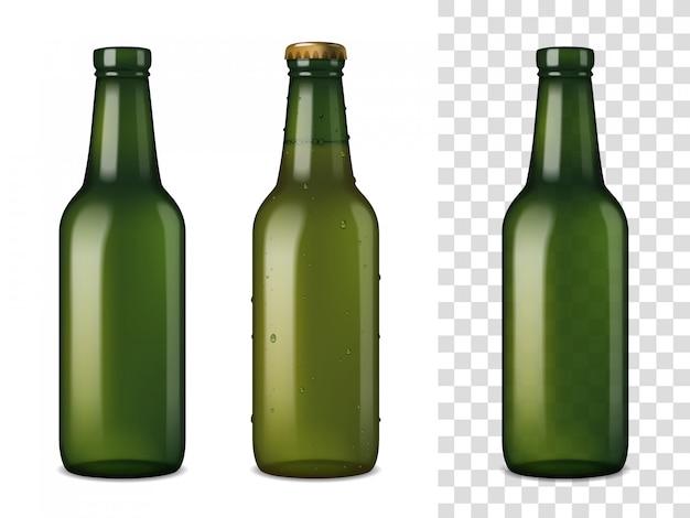 Beer glass bottles realistic set Free Vector