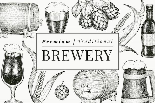 Beer glass mug and hop design template. hand drawn  pub beverage illustration. engraved style. retro brewery illustration. Premium Vector