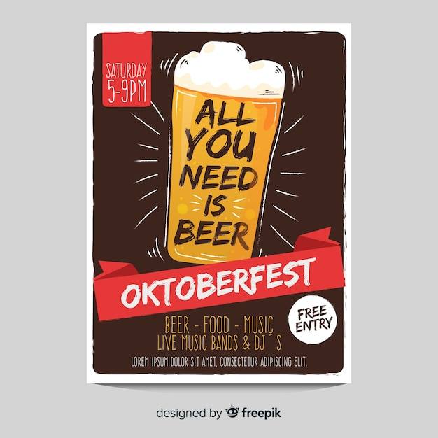 Beer glass oktoberfest poster template Free Vector
