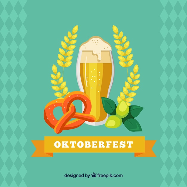Beer glass, pretzel and wheat in the oktoberfest