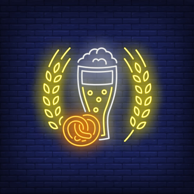 Beer glass, pretzel and barley ears neon sign Free Vector