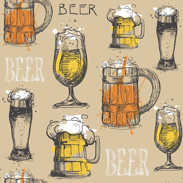 Beer glass seamless pattern Premium Vector