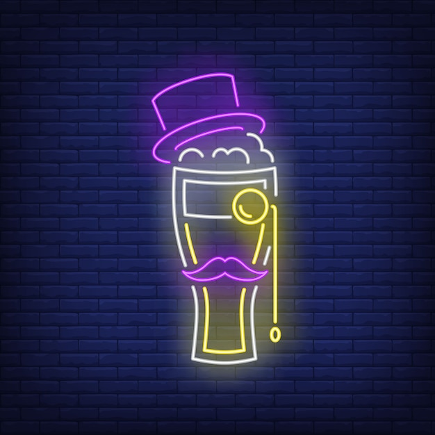 Beer glass with topper hat, moustache and monocle neon sign. Free Vector