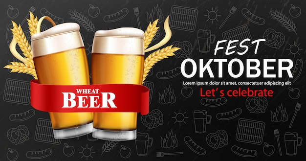 Beer glasses banner october fest Premium Vector