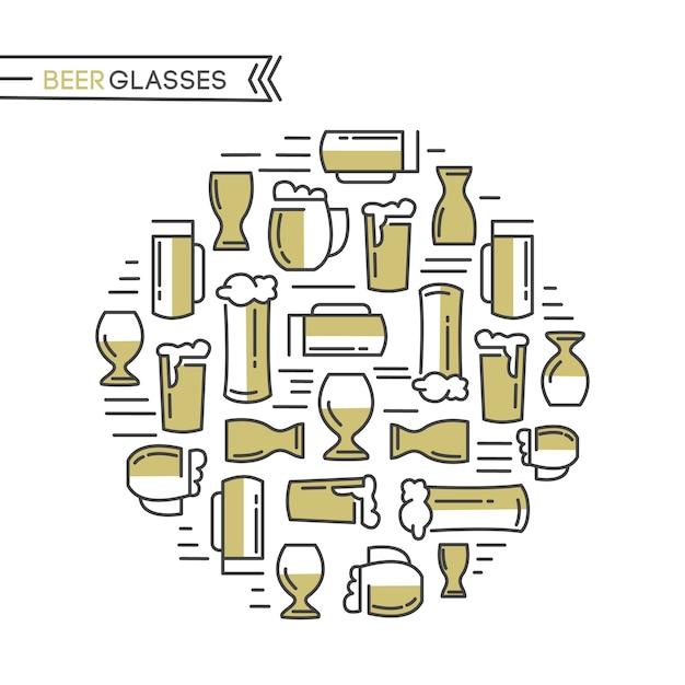 베이지 색 안경의 다른 종류와 맥주 안경 컬렉션은 흰색에 가벼운 맥주와 맥아 손을 뽑아 무료 벡터