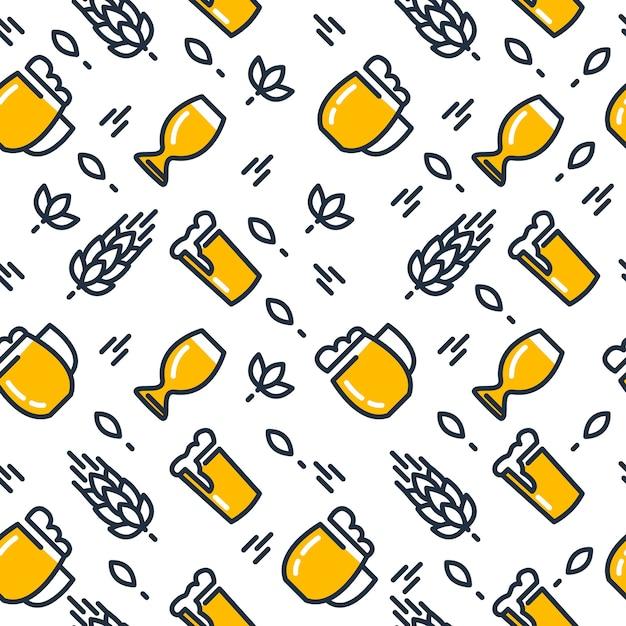 Пивные бокалы бесшовные модели с различными видами бокалов, вытянутые легкое пиво и солод, рука рисунок на белом Бесплатные векторы