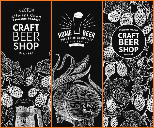 Beer hop design templates. vintage beer background. vector hand drawn hop illustration on chalk board. retro style banner set. Premium Vector