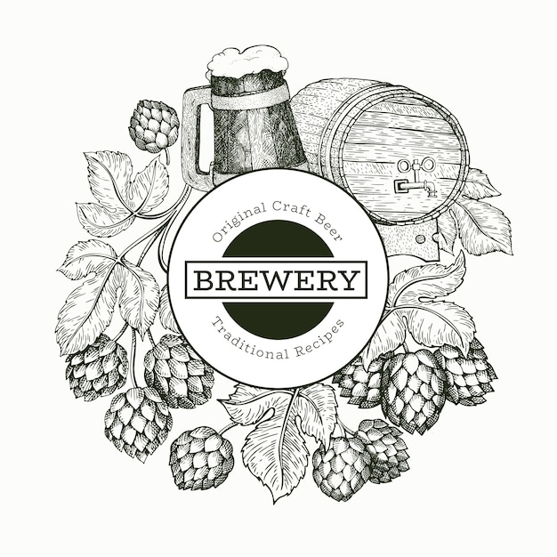 Beer and hop illustration Premium Vector