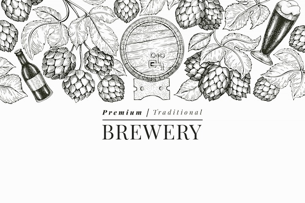 Beer and hop  template. hand drawn  brewery illustration. engraved style. retro brewing illustration. Premium Vector