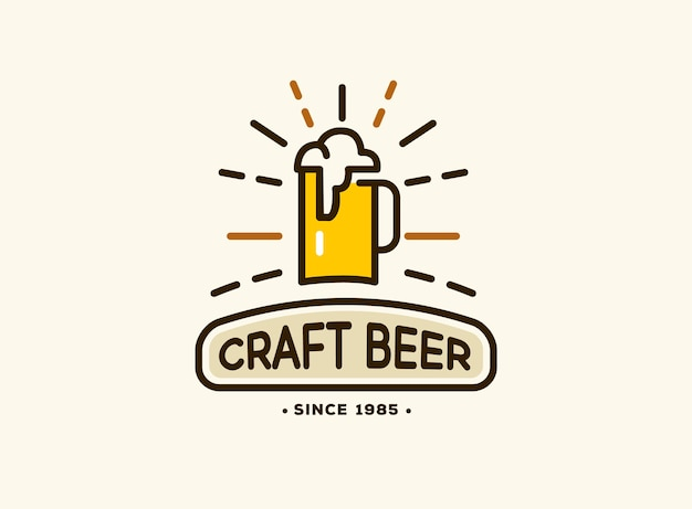 Beer house badge with logos of craft beer, emblems for beer house, bar, pub, brewing company, brewery, tavern Free Vector