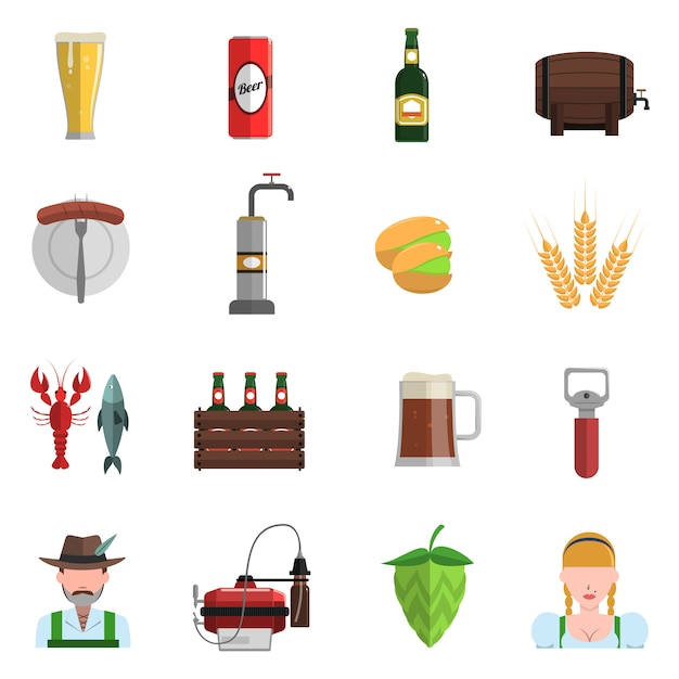 Beer icons flat set Free Vector